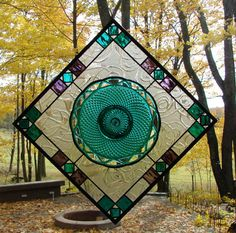 Emerald Diamond and Lace stained glass by Barbarasstainedglass, $115.00