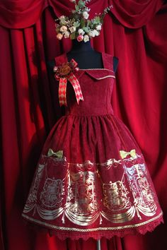 Red Gold Lolita Power and Throne Velvet Dress