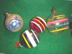 STRIPE BALL ORNAMENTS. Vintage used Christmas decorations