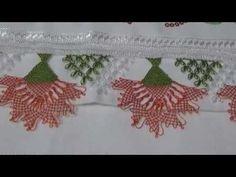 Towel Edge / Carnation Models / Needle Thread Models needlework - Perihan Özçiçek - Carnations, Needle And Thread, 9 And 10, Needlework, Towel, Arts And Crafts, Embroidery, Youtube, Iphone