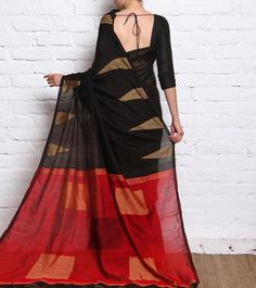 Black Cotton Silk Handloom Saree