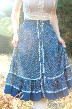 Gunne Sax Style Prairie Skirt// 1970s Calico Skirt// Boho Skirt// Astral…