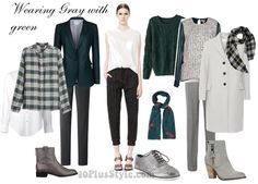 how to wear gray with dark green | 40plusstyle.com