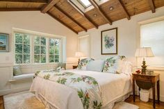 Cottage Bedroom with Window Seat from a Carmel Sea Cottage featured on Between Naps on the Porch