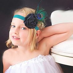 Buy AkinosKIDS Peacock Feather Ruffled Rosette Stretchy Flower Head Band online in India at best price.Buy AkinosKIDS Peacock Feather Ruffled Rosette stretchy Flower Head Band for online. Baby Bows, Baby Headbands, Sunshine Store, Feather Headband, Girls Hair Accessories, Bandeau, Little Princess, Hair Jewelry, Rosettes