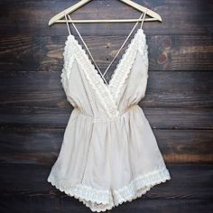 Summer Boho / Bohemian / Gypsy Nude Lace Romper