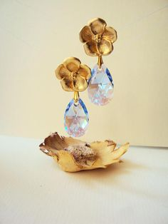 Blue Teardrop Earrings Statement Golden Flower Bridal