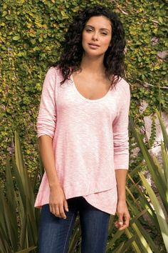 f67999e9ef This go-anywhere tee has a unique, crisscross hem in front and dips slightly