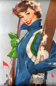 cute kitsch retro vintage advertising winter sports skiing poster print great to put on a bag for rockabilly look Pin Up Vintage, Images Vintage, Vintage Pictures, Vintage Art, Vintage Ladies, Vintage Comics, Pinup Art, Estilo Glamour, Vintage Ski Posters