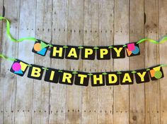 ***To ensure a timely processing time, please provide the date you need your order received by in the note to seller box at check-out.*** Perfect for any 80s themed party! Banner reads Happy Birthday. Each square is approximately 3.5 x 3.5. Banner is strung together with ribbon and