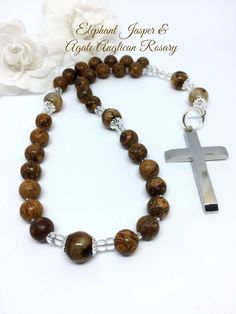 Anglican Rosary, Elephant Jasper and Amber Agate, Protestant Prayer Beads, Christian Prayer Beads, Episcopal Rosary, Man's Rosar by FaithExpressions on Etsy