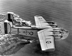 A Consolidated PB2Y-2 Coronado of patrol squadron VP-13 (aircraft 13-P-1, BuNo 1633) in flight. The photo was taken in November 1040, note that the plane is painted in the colourful pre-war scheme. 1940