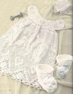 Baptism Baby Gown Dress Bonnet Booties Filet Crochet Pattern