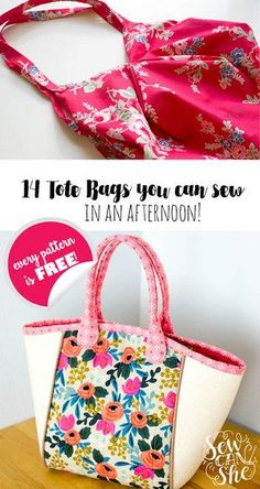 Free Tote Bag Patterns You Can Sew in a Day! (plus tips to make it happen) 14 Free Tote Bag Patterns You Can Sew in a Day! (plus tips to make it happen) — SewCanShe Sewing Patterns Free, Free Sewing, Free Tote Bag Patterns, Tote Pattern, Pattern Sewing, Quilt Pattern, Sewing Patterns Bags, Bags Sewing, Wallet Pattern