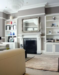 'Beige w/white trim is my favorite combo for home decor'. Inside Scoop: A North London Victorian Family Home by Holly Marder for Houzz Victorian Living Room, Edwardian House, Edwardian Style, Victorian Terrace, My Living Room, Home And Living, Home And Family, Taupe Living Room, Family Room Design