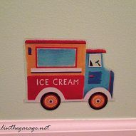 Vintage ice cream truck decal for a little boys bedroom
