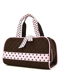 Brown and Pink Quilted solid 3pc Cosmetic Bag – The Mommy Boutique