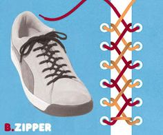 Li ** Embroidered **: Several ways to tie the laces of the shoes!