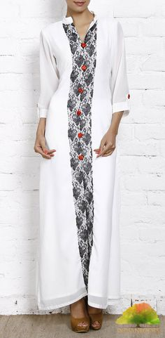 White Georgette Long Kurti by Zaree on Indianroots.com