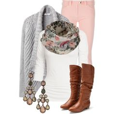 "My pink pants ""Pretty Pastels"" by qtpiekelso on Polyvore  Use with purple pants and pastel scarf  Still need: earrings"