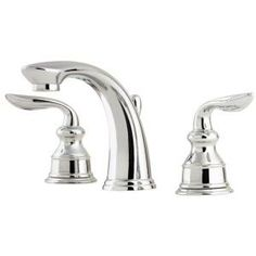 Pfister Avalon 8 in. Widespread 2-Handle High Arc Bathroom Faucet in Polished Chrome.  I'm not sure about finish at this point, but I like this faucet.  A little feminine without being too much, simple lines, only $149 retail.  If you're redoing countertops I'd suggest you go ahead and do three holes like this instead of one like you have.