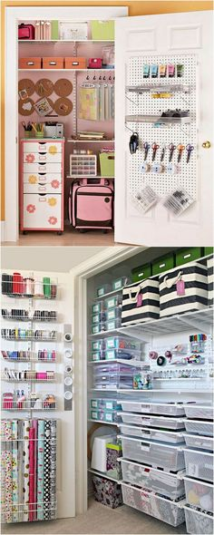 21 great ways to completely organize your workshop or craft room: how to best utilize pegboards, shelving, closet and wall spaces, and much more! - A Piece Of Rainbow crafts room 21 Inspiring Workshop and Craft Room Ideas for DIY Creatives Organisation Ikea, Sewing Room Organization, Workshop Organization, Craft Room Storage, Craft Rooms, Diy Workshop, Paper Storage, Ikea Storage, Closet Storage