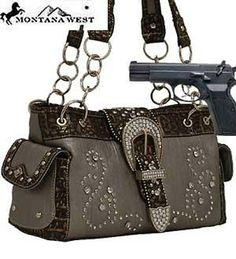 *Hot & Trendy* Pewter Western Rhinestone Buckle Conceal and Carry Purse