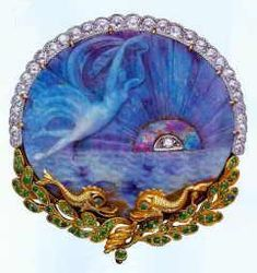 Raymond C. Yard Art Nouveau Carved Opal Brooch- Black opal, Lightning Ridge , diamonds, 18kt gold