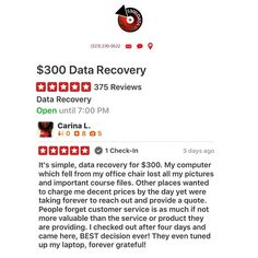 Data recovery has never been easier. Webelieve in charging FAIR prices for data recover. --- #300DollarDataRecovery #LosAngeles #Yelp #HardDrive #DataRecovery  #StudioCity