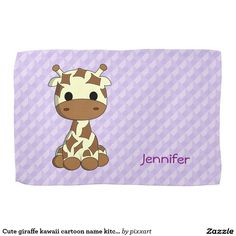 Cute giraffe kawaii cartoon name kitchen towel