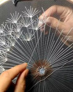 ― Velvet Meadow( 「Working on repeat for the whole week on big dandelions. Each dandelion takes so much time. Hand Embroidery Stitches, Silk Ribbon Embroidery, Embroidery Hoop Art, Hand Embroidery Designs, Embroidery Techniques, Machine Embroidery, Flower Embroidery, Embroidery Ideas, Embroidered Flowers