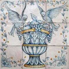 Add a unique touch to your home with the superlative craftsmanship of hand painted Italian tiles, backsplash tile panels, tile murals by Ghenos in Sicily Tile Murals, Mural Wall Art, Tile Art, Wall Tile, Italian Tiles, Persian Motifs, Tile Panels, Antique Tiles, Handmade Tiles