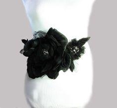 Black Wedding Sash Black Bridal Sash Black Flower by flowershair, $125.00