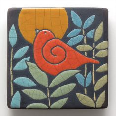 Red BirdCeramic tilehandmade raku fired art tile by DavisVachon, $36.00                                                                                                                                                                                 More