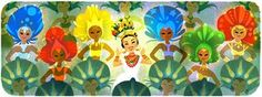 Google's doodle celebrating Carmen Miranda's 108th birthday