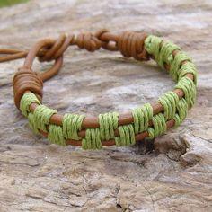 Tan Leather and Green Hemp Adjustable Bracelet, $18.0