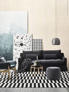 ÄRLÖV3-sits soffa i sammet,STOCKHOLM 2017puff i Sandbacka mörkgrå,VINTERGATAtaklampa,VEDBOfåtölj,YPPERLIGgolvlampa,STOCKHOLMmatta, handgjord i ren ny ull.