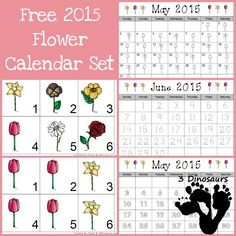 Free 2015 Flower Calendar  - AAB pattern cards, 6 flower cards and single page calendar sheet - 3Dinosaurs.com