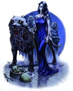 Hel er i nordisk mytologi dødsriget Hels herskerinde, og ikke en særlig rar skikkelse. Hun er datter af Loke og jættekvinden Angerboda, og dermed er hendes søskende Midgårdsormen og Fenrisulven. Hendes tre halvsøskende er Vale, Narfe og Sleipner (Odins ottebenede hest). Om Hel fortælles det, at hun er halvt blåsort og forrådnet som et lig, og halvt kødfarvet som et levende menneske. Hun er truende, barsk og kold. (Tegnet af Christian Højgaard)