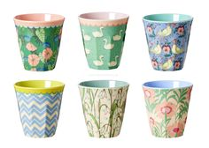 Set of 6 Two Tone Cups in Shine Prints By Rice DK - Vibrant Home