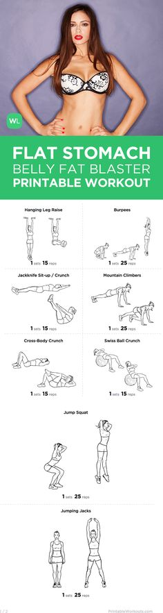 Visit http://WorkoutLabs.com/workout-plans/the-flat-stomach-belly-fat-blaster-exercise-plan/ for a FREE PDF of this Flat Stomach Belly Fat Blaster printable workout that will help you flatten your stomach