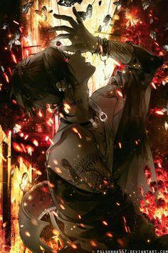 Uta, ghoul, butterflies, eyeball; Tokyo Ghoul