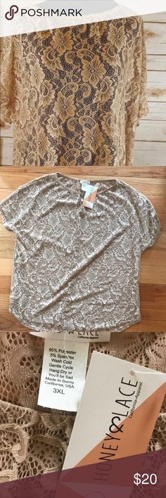 Honey and Lace 3X Lace tunic So beautiful in person. 😍 dark cream colored lace tunic. Honey and Lace Tops Tees - Short Sleeve
