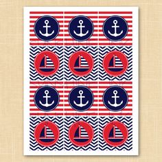 Anchors Away Printable Nautical Party Circles / Cupcake Toppers / Favor Tags - INSTANT DOWNLOAD