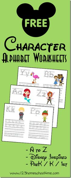 FREE Disney Alphabet Worksheets for Kids! Preschool, Kindergarten, and grade kids are going to have fun practicing their lower and uppercase letters with these free printable alphabet worksheets with Disney characters from A to Z. Preschool Kindergarten, Preschool Learning, Preschool Activities, Kindergarten Worksheets, Preschool Printables Free Worksheets, Free Printable Alphabet Letters, Letter Tracing Worksheets, Toddler Worksheets, Preschool Alphabet