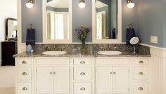 Bathroom White Bathroom Cabinets With Double Mirrors And Granite Countertops Also Ring Towel Rack Wall Grey Backdrop With Wall Lights Floor Tiles Bright Your Bathroom Look With White Bathroom Cabinets