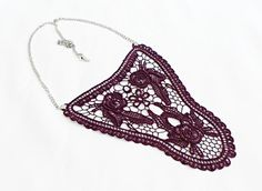 FREE SHIPPING Crochet Necklace Handmade Cotton Lace by HAREMDESIGN