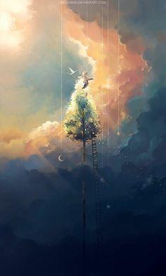 Digital Painting by Niken Anindita. Niken Anindita is a digital art artist and she is fond of digital painting. Anime Kunst, Anime Art, Scenery Wallpaper, Wallpaper Art, Fantasy Landscape, Anime Scenery, Pretty Art, Aesthetic Art, Aesthetic Wallpapers
