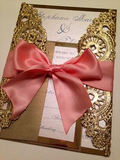 Metallic Doilies Wedding Invitation Suite with Ribbon Bow - Deposit to Start Ordering Process on Etsy, $100.00