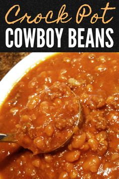 A hearty recipe made with pork n' beans, ground beef, brown sugar and barbeque sauce that's perfect for cookouts, barbeques and covered-dish affairs (made in the slow cooker or on the stove top). Baked Bean Recipes, Healthy Crockpot Recipes, Slow Cooker Recipes, Cooking Recipes, Beans Recipes, Hamburger Recipes, Healthy Soup, Healthy Chicken, Pork And Beans Recipe